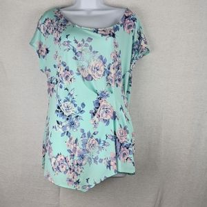 Relativity green blue Floral rose Rouched top